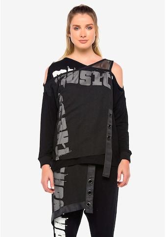 Cipo & Baxx Langarmshirt »Tune Up«, mit asymmetrischem Netzgewebe kaufen