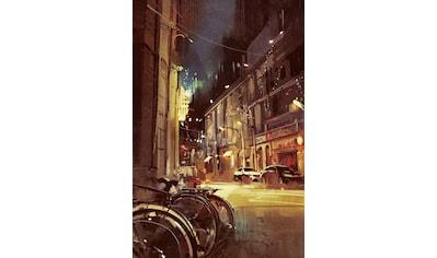 queence Leinwandbild »Stadt Fahrrad« kaufen