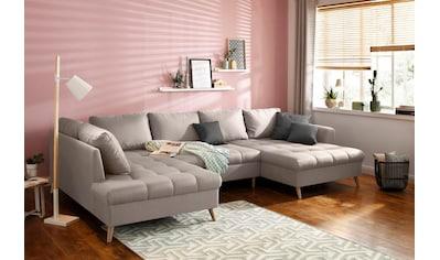 Home affaire Wohnlandschaft »Penelope«, mit feiner Steppung im Sitzbereich und losen Kissen kaufen