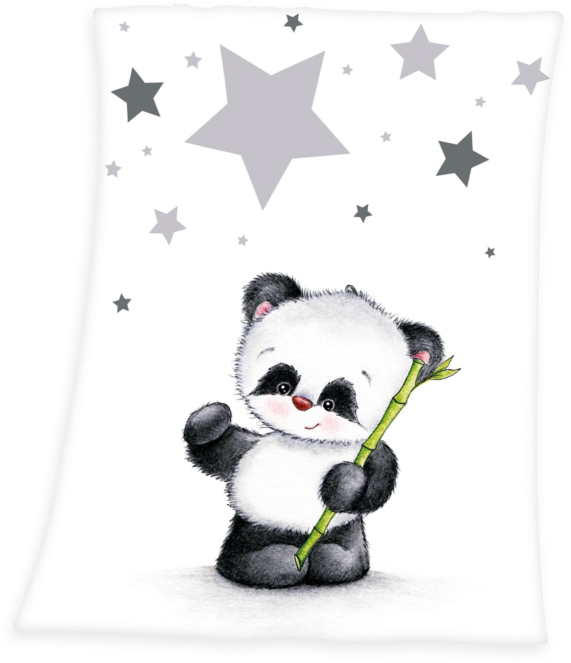 Baby Best Babydecke Fynn Panda, mit Panda-Motiv weiß Babydecken Decken