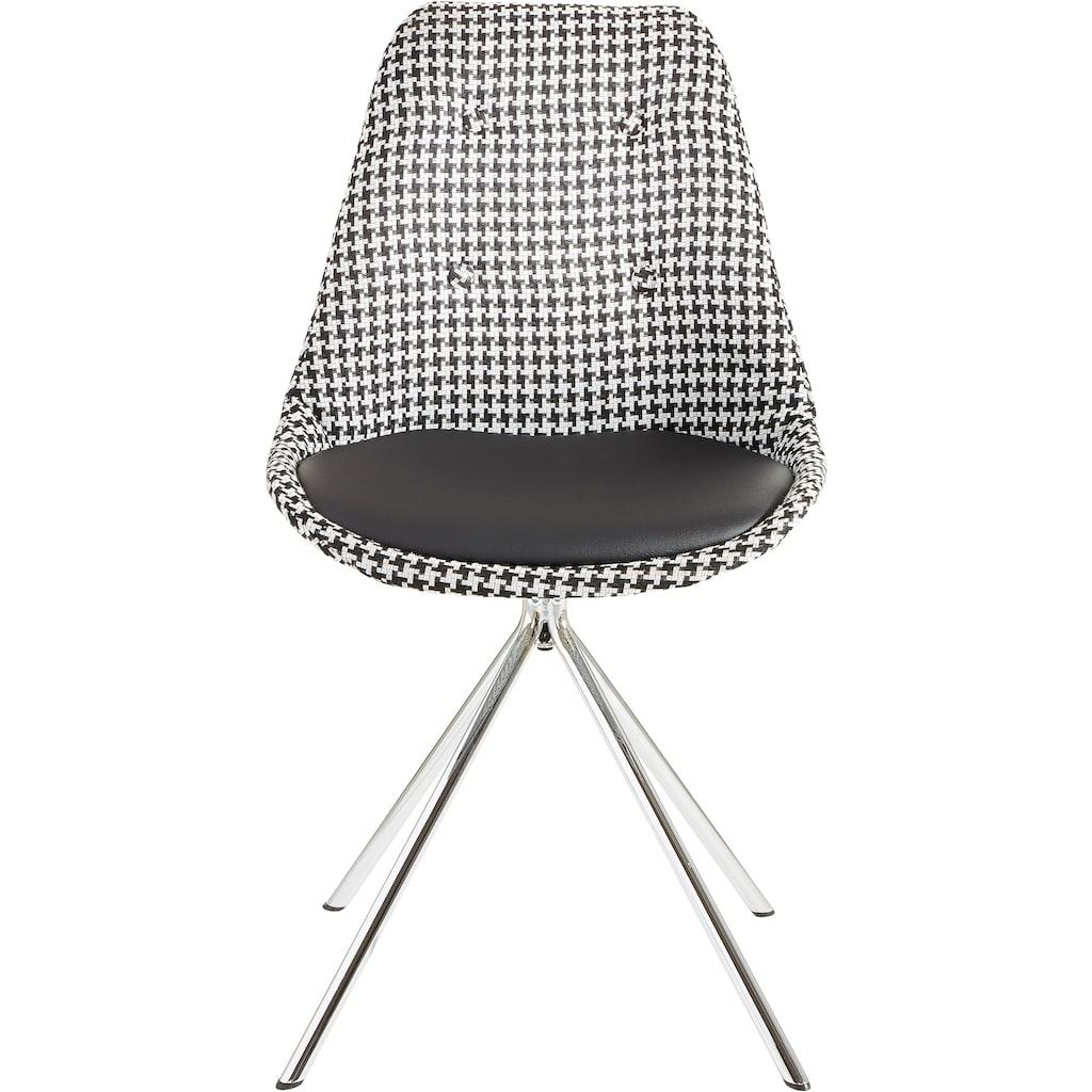 Esszimmerstuhl »Pepita«, Sitzschale mit Webstoff bezogen, Sitzkissen mit Bezug aus Kunstleder, verchromtes Metallgestell