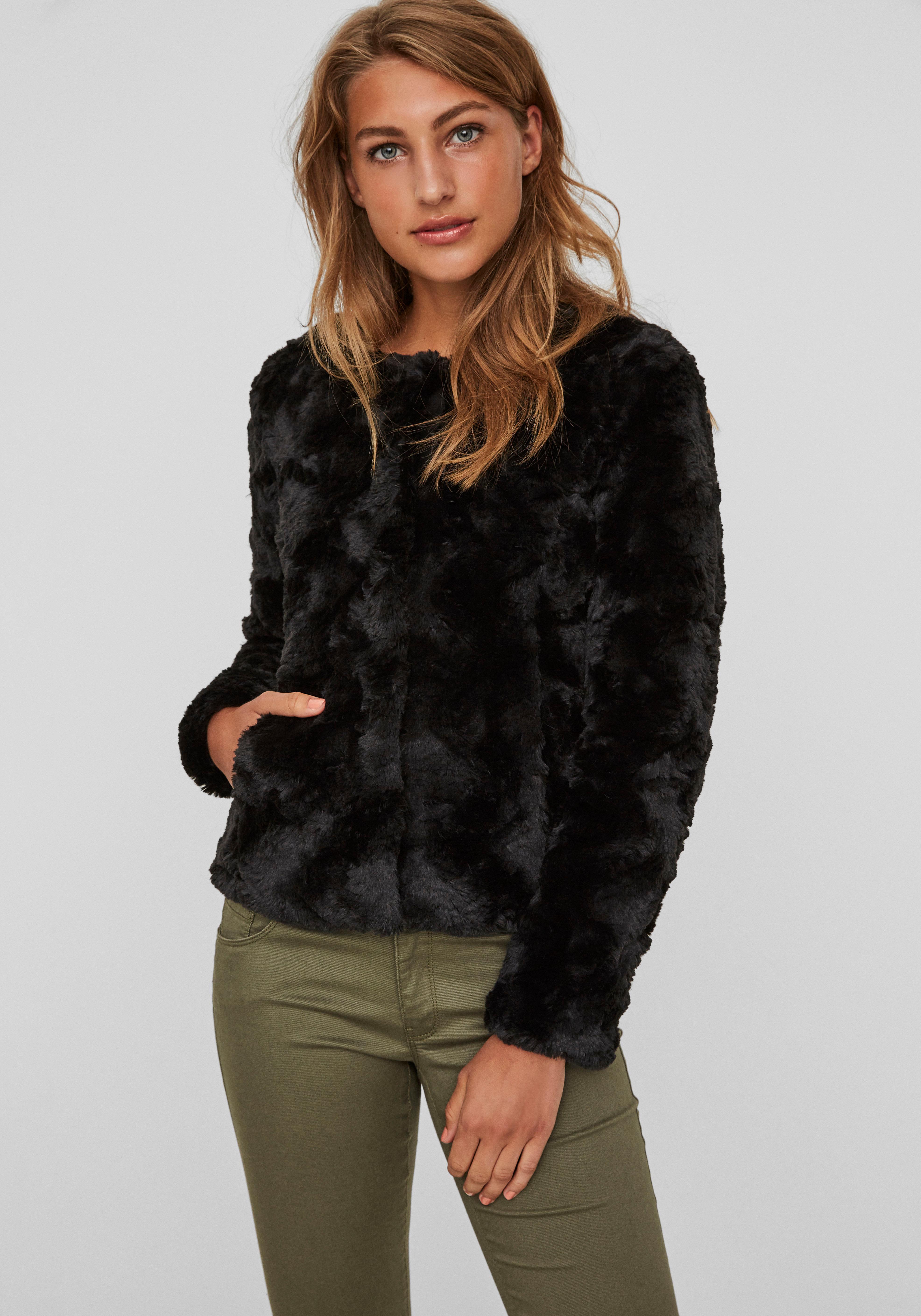 Vero Moda Fellimitatjacke CURL | Bekleidung > Jacken > Fellimitatjacken | Schwarz | Vero Moda