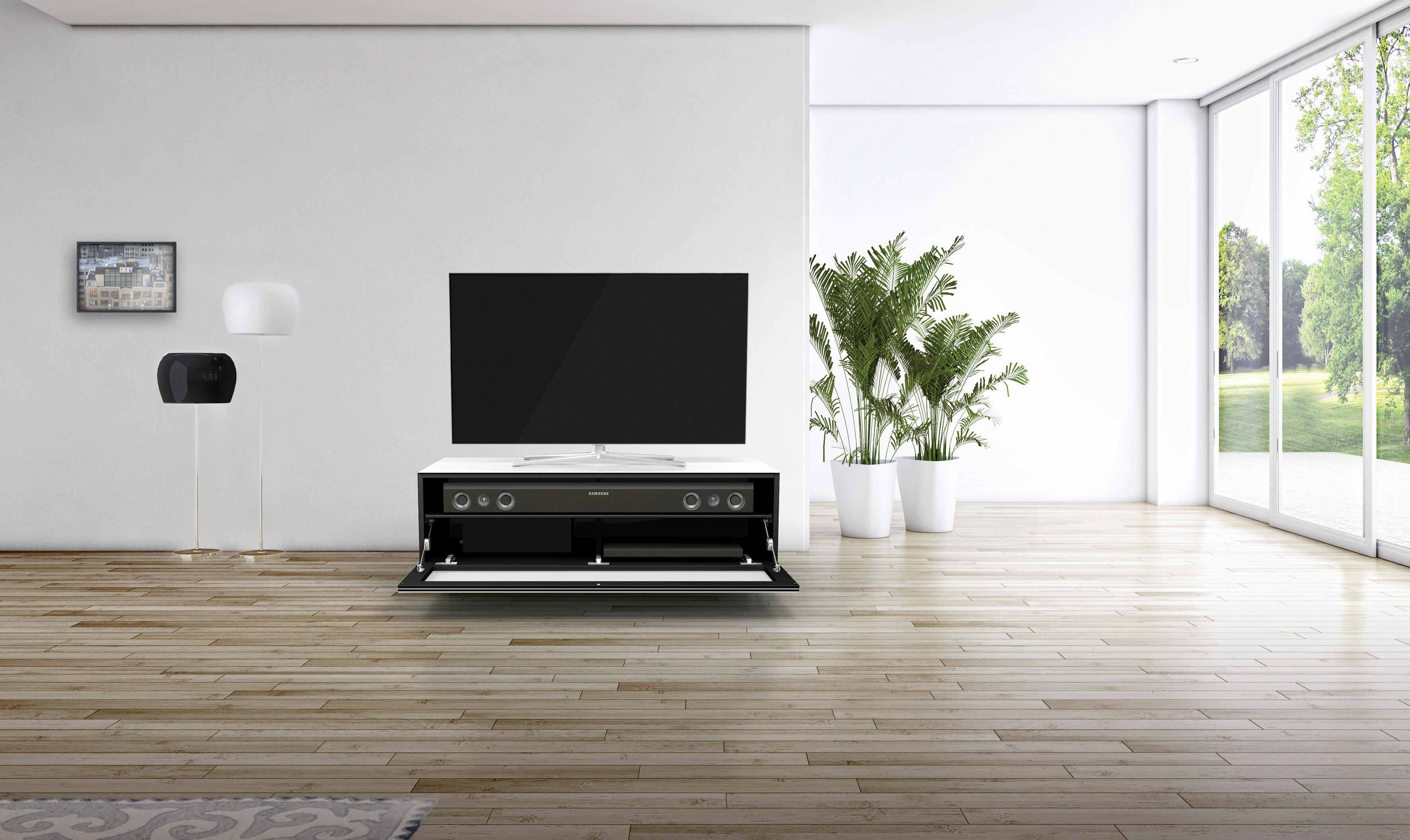 SPECTRAL TV-Lowboard just-racks JRL1101S mit stoffbespannter Klappe Breite 110 cm