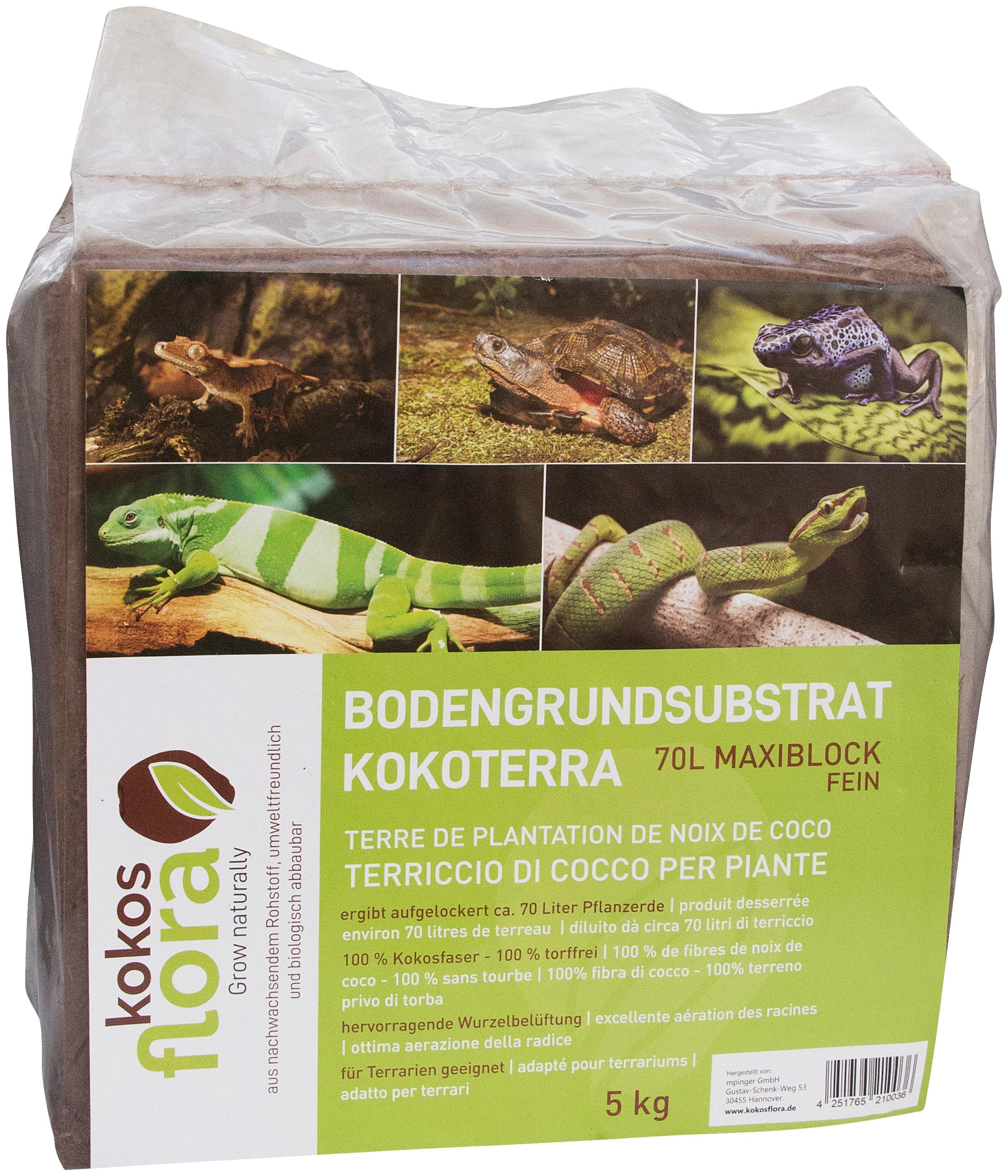 Floragard Pflanzerde Kokosflora Kokoterra, Maxi Block fein, ergibt aufgelockert 70 Liter braun Zubehör Pflanzen Garten Balkon