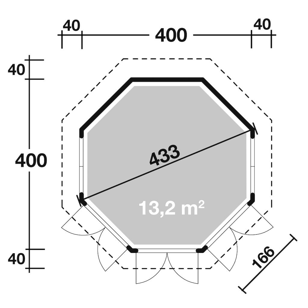 Wolff Holzpavillon »Roma 4.0«, (Set), BxT: 480x480 cm, mit Dachschindeln und Fußboden