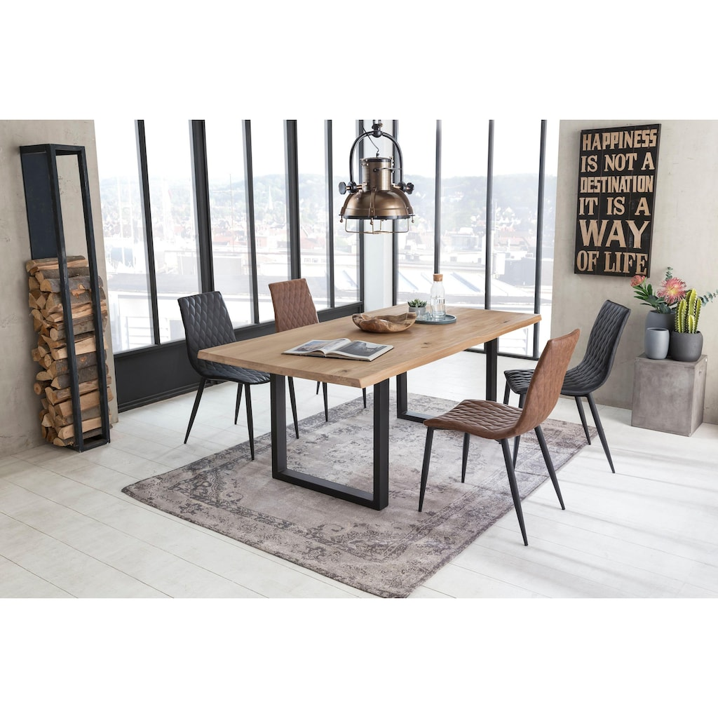SIT Esstisch »Tops&Tables«, mit Tischplatte aus Wildeiche, mit Baumkante wie gewachsen, Shabby Chic, Vintage