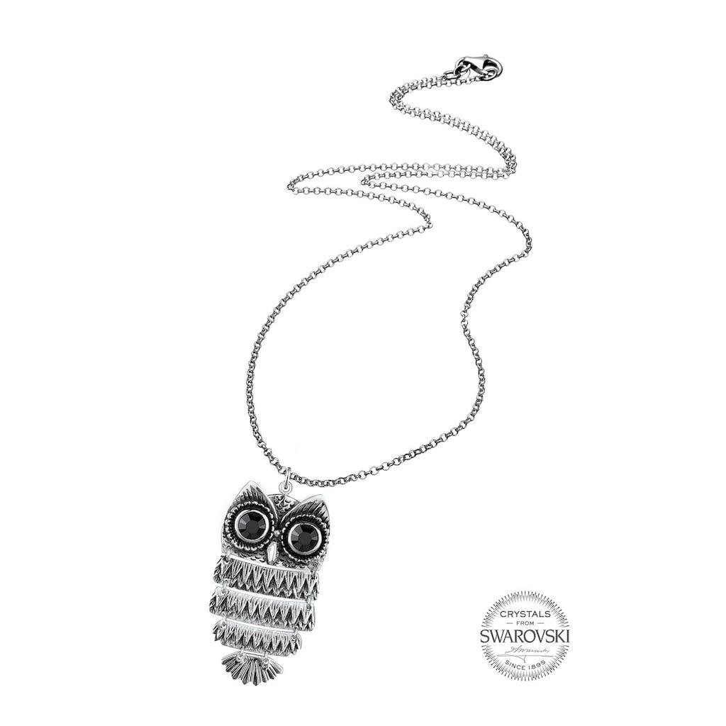 Elli Kette mit Anhänger »Eule Swarovski® Kristalle 925 Sterling Silber«