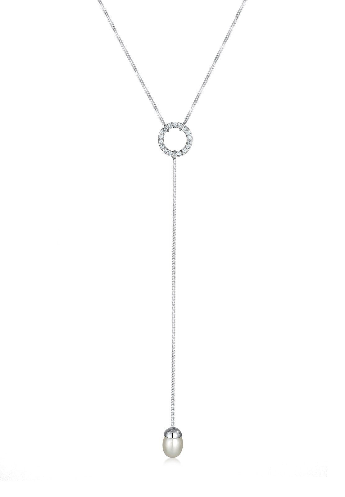 Elli Perlenkette Y-Kette Swarovski Kristalle Perle 925 Silber | Schmuck > Halsketten > Perlenketten | Elli