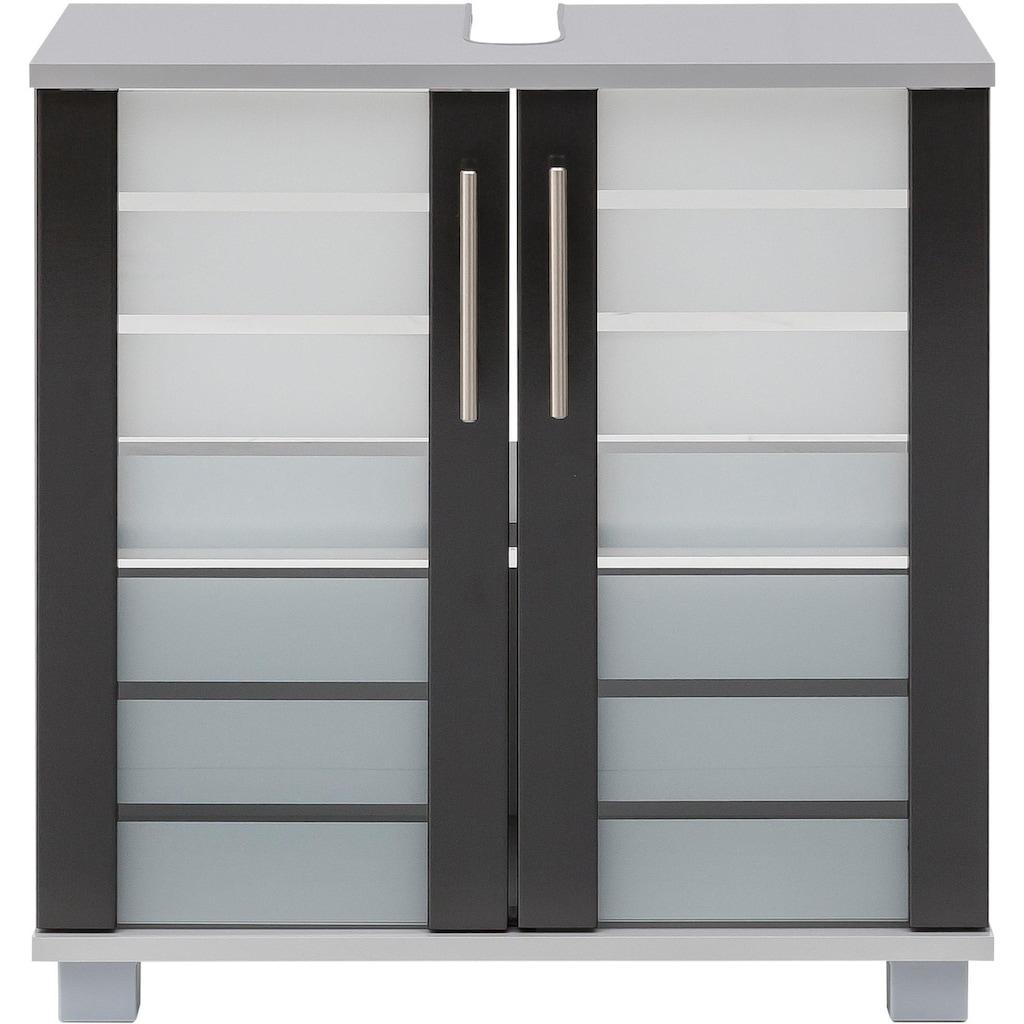 Schildmeyer Waschbeckenunterschrank »Nikosia«, Höhe 64 cm, mit Glastüren, hochwertige MDF-Fronten, Metallgriffe