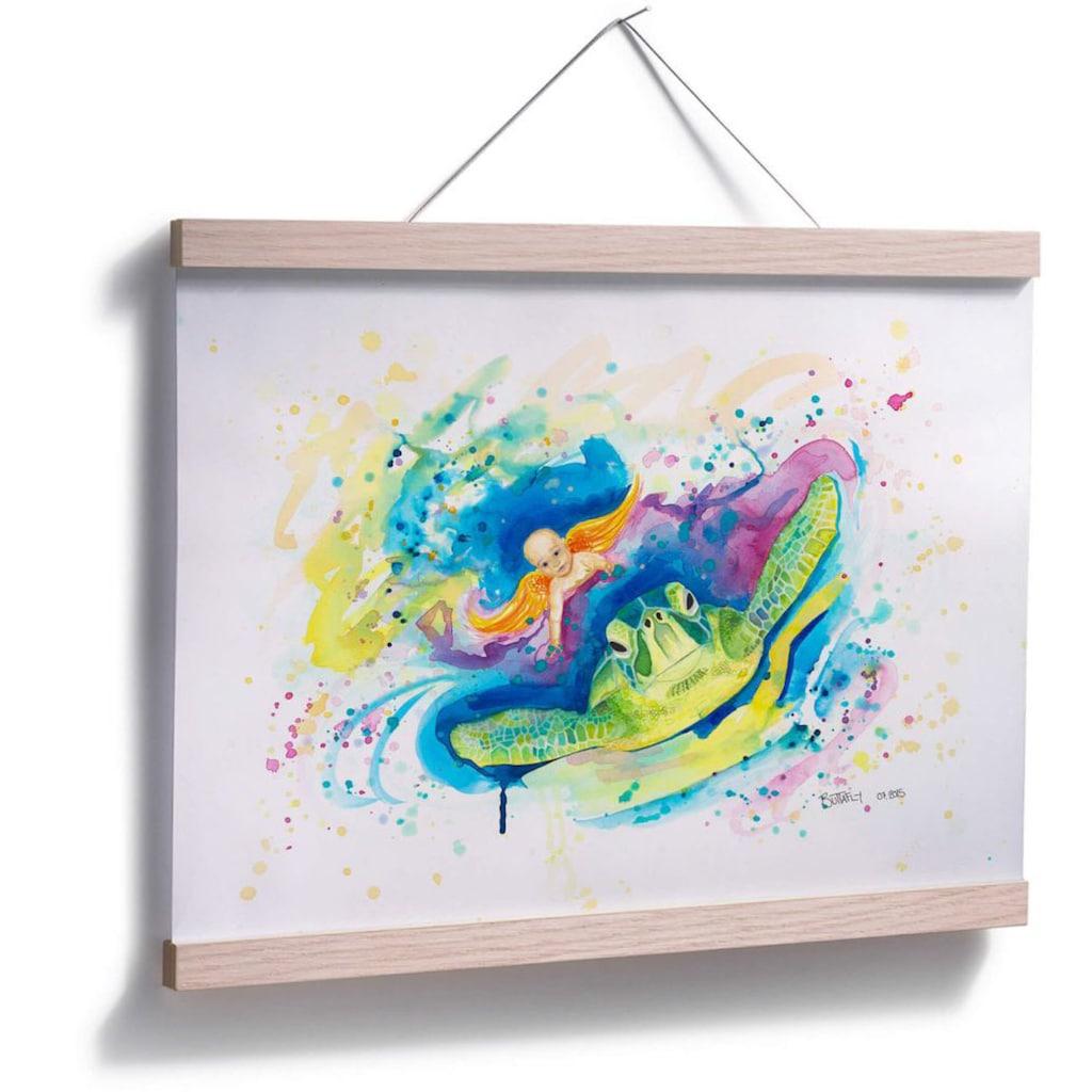 Wall-Art Poster »Green sea turtle«, Schriftzug, (1 St.), Poster, Wandbild, Bild, Wandposter