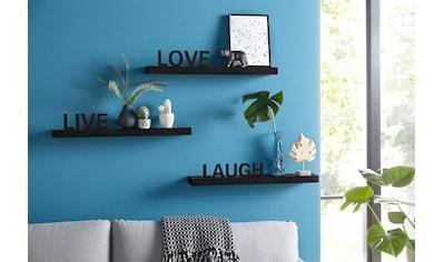 my home Wandregal »Live - Love - Laugh«, (Set, 3 St., 3-tlg. Set), Dekoregal, Wanddeko, mit Schriftzug kaufen