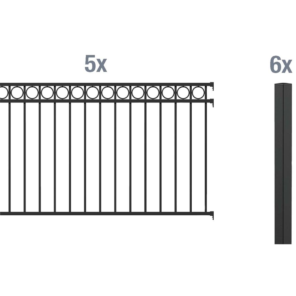 GAH Alberts Metallzaun »Circle«, 120 cm hoch, 5 Matten für 10 m, 6 Pfosten zum Einbetonieren