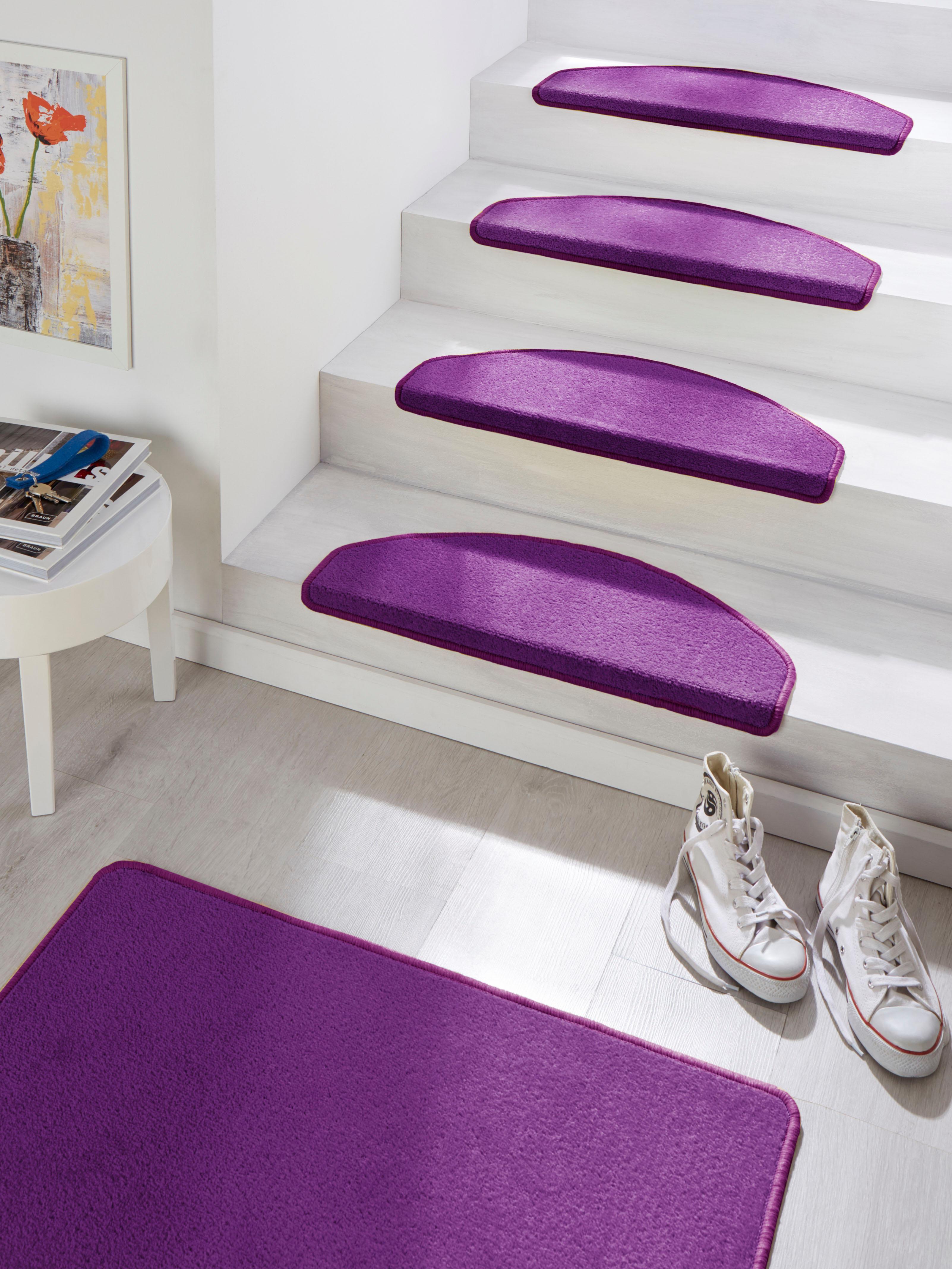 HANSE Home Stufenmatte Fancy, halbrund, 7 mm Höhe, große Farbauswahl, 15 Stück in einem Set lila Stufenmatten Teppiche