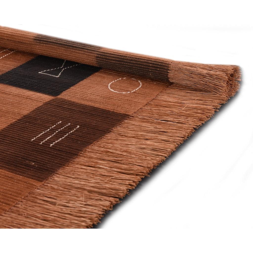 DIE HAUSKUNST Teppich »Tulon«, rechteckig, 4 mm Höhe, Flachgewebe, handgewebt, mit Fransen, Wohnzimmer