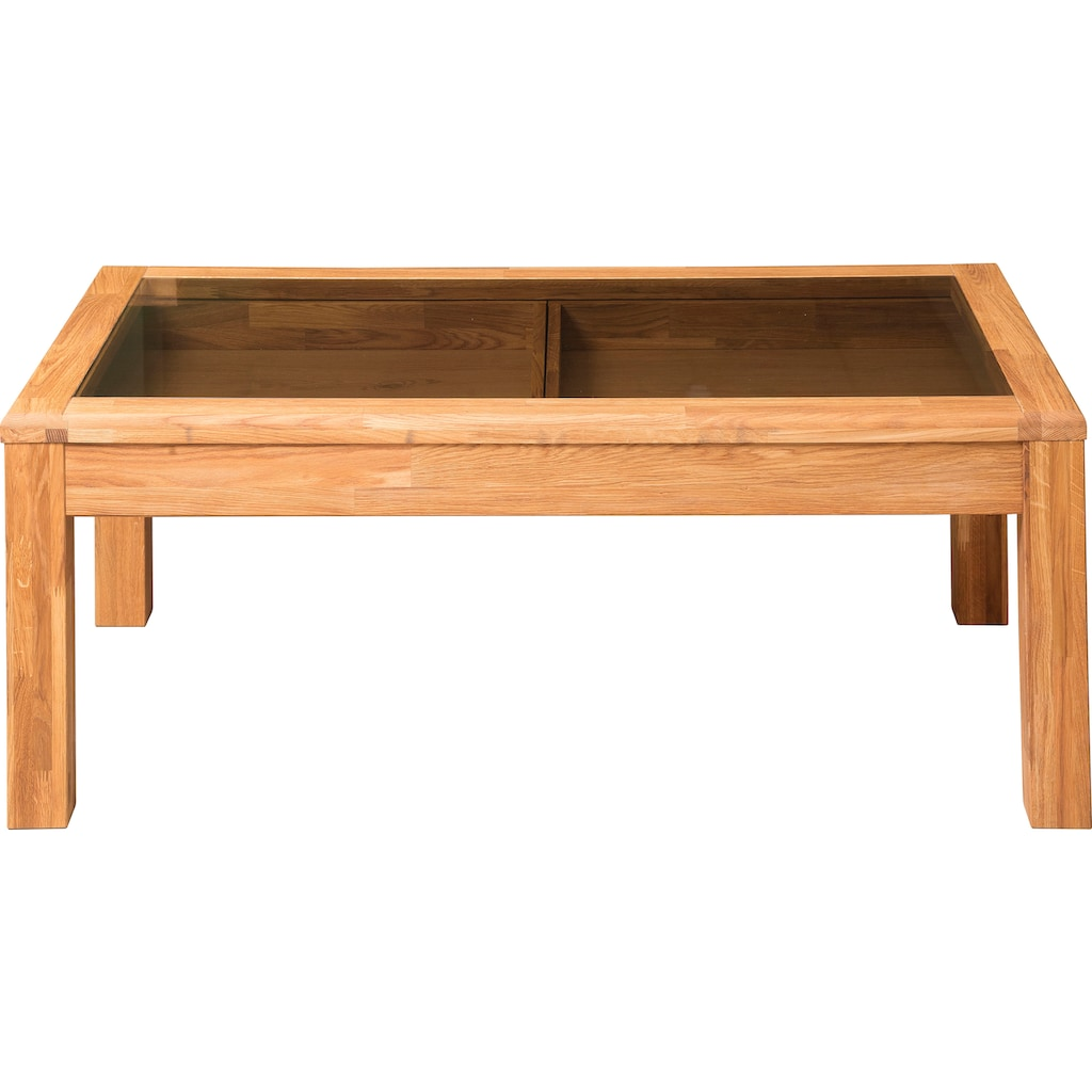 andas Couchtisch »Freyr«, aus massivem Eichenholz, mit einer schönen Glastischplatte, Breite 118 cm