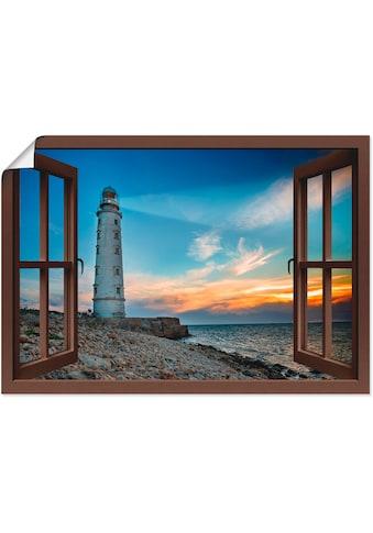 Artland Wandbild »Fensterblick Leuchtturm«, Fensterblick, (1 St.), in vielen Größen &... kaufen
