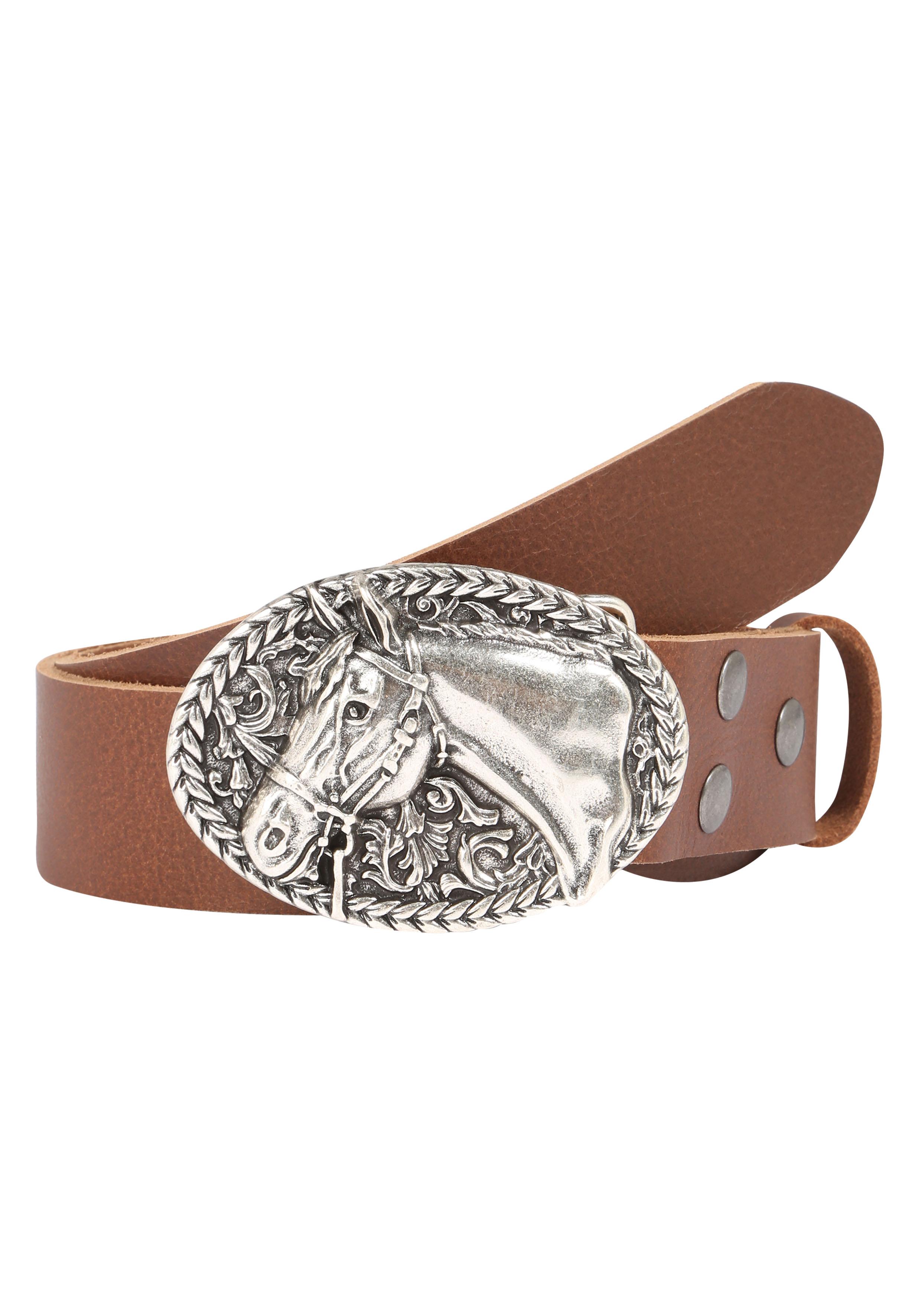 RETTUNGSRING by showroom 019° Ledergürtel, mit schicker Pferdemotivschließe braun Damen Ledergürtel Gürtel Accessoires 4260529987039