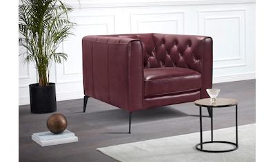 Leonique Chesterfield-Sessel »Narmada«, mit dekorativer Knopfheftung im Rückenteil und an den hohen Armlehnen, mit schlanken Metallbeinen, im Chesterfield-Design kaufen