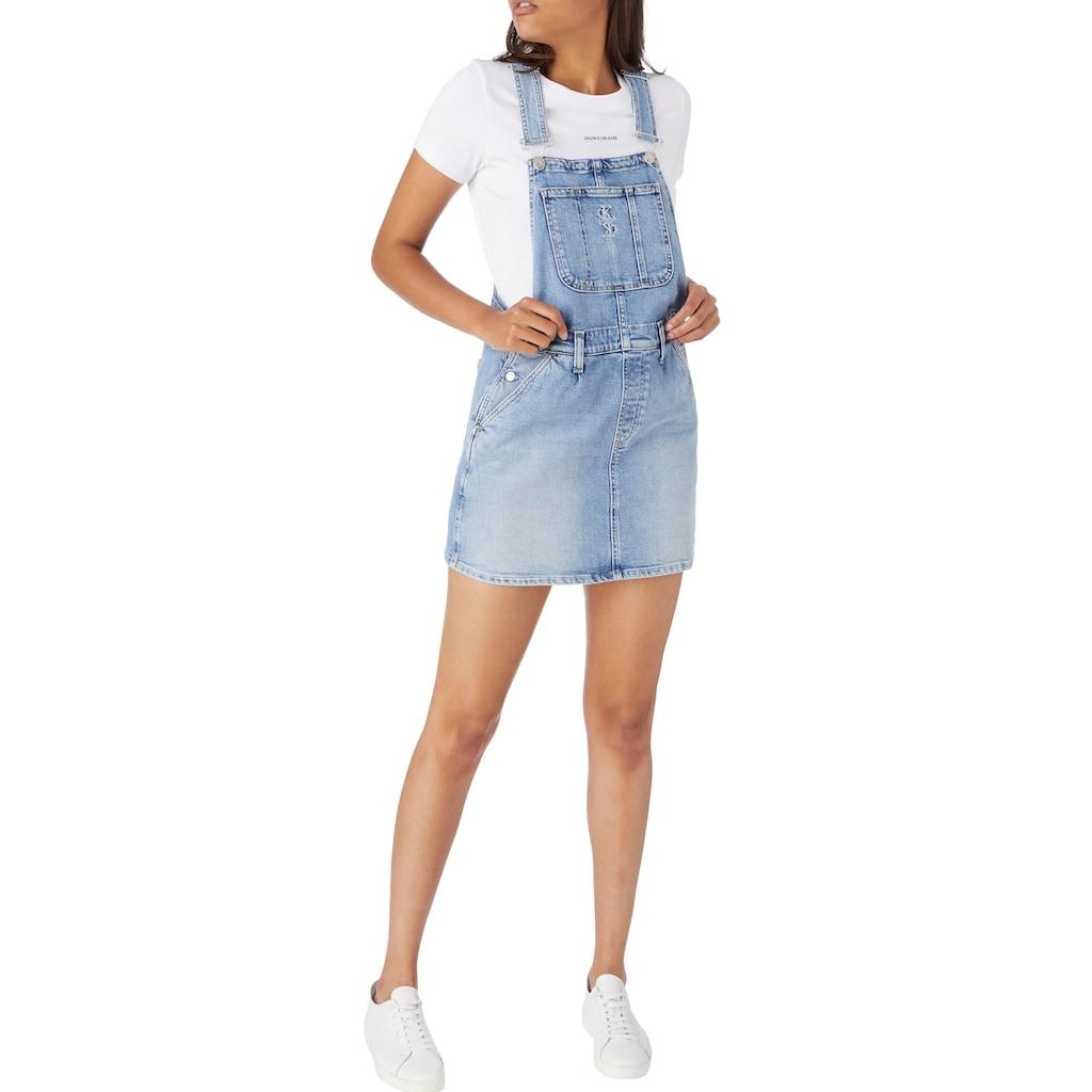 Calvin Klein Jeans Rundhalsshirt »MICRO BRANDING CROP RIB TOP«, mit Calvin Klein jeans Micro Logo-Schriftzug