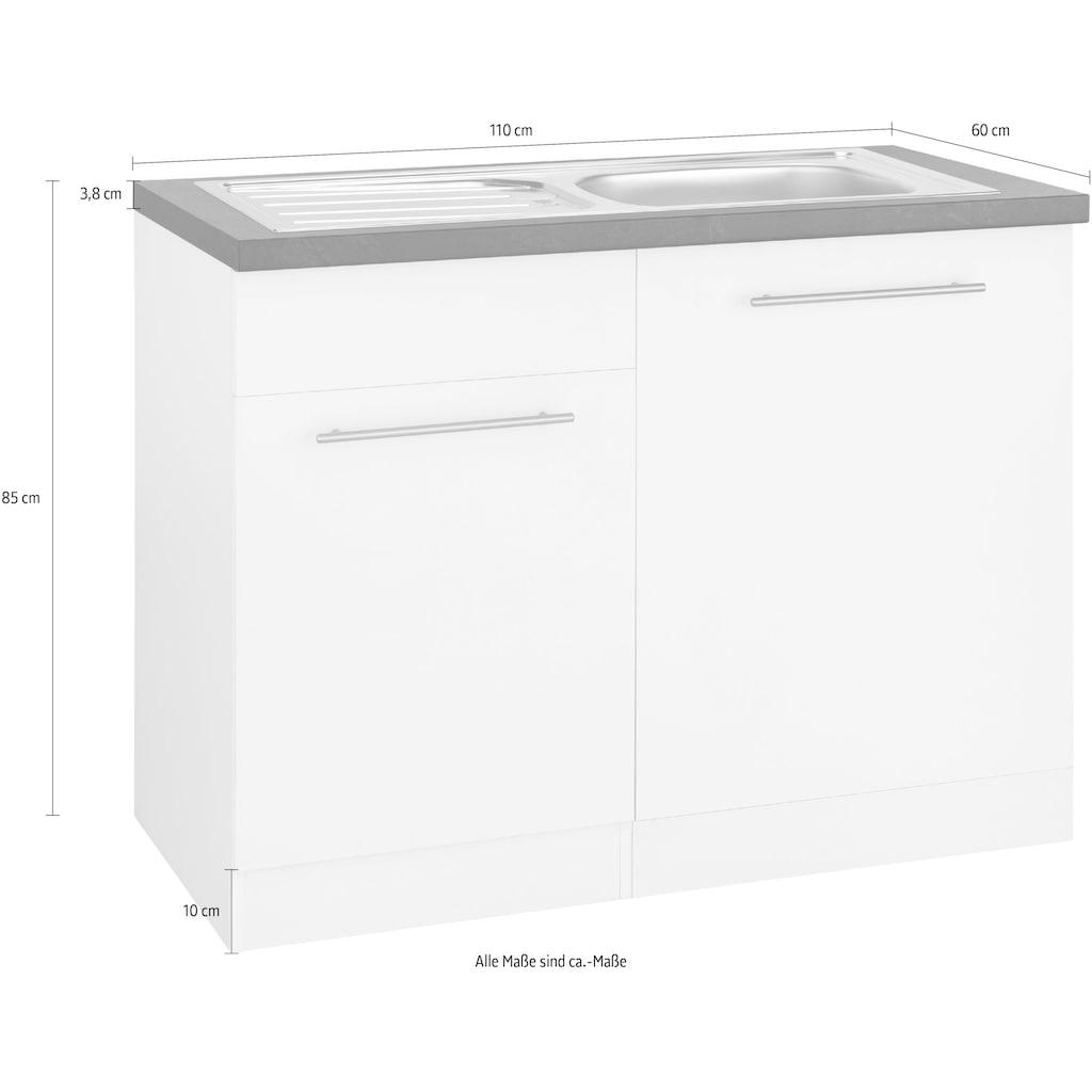wiho Küchen Spülenschrank »Unna«, 110 cm breit, inkl. Tür/Sockel/Griff für Geschirrspüler