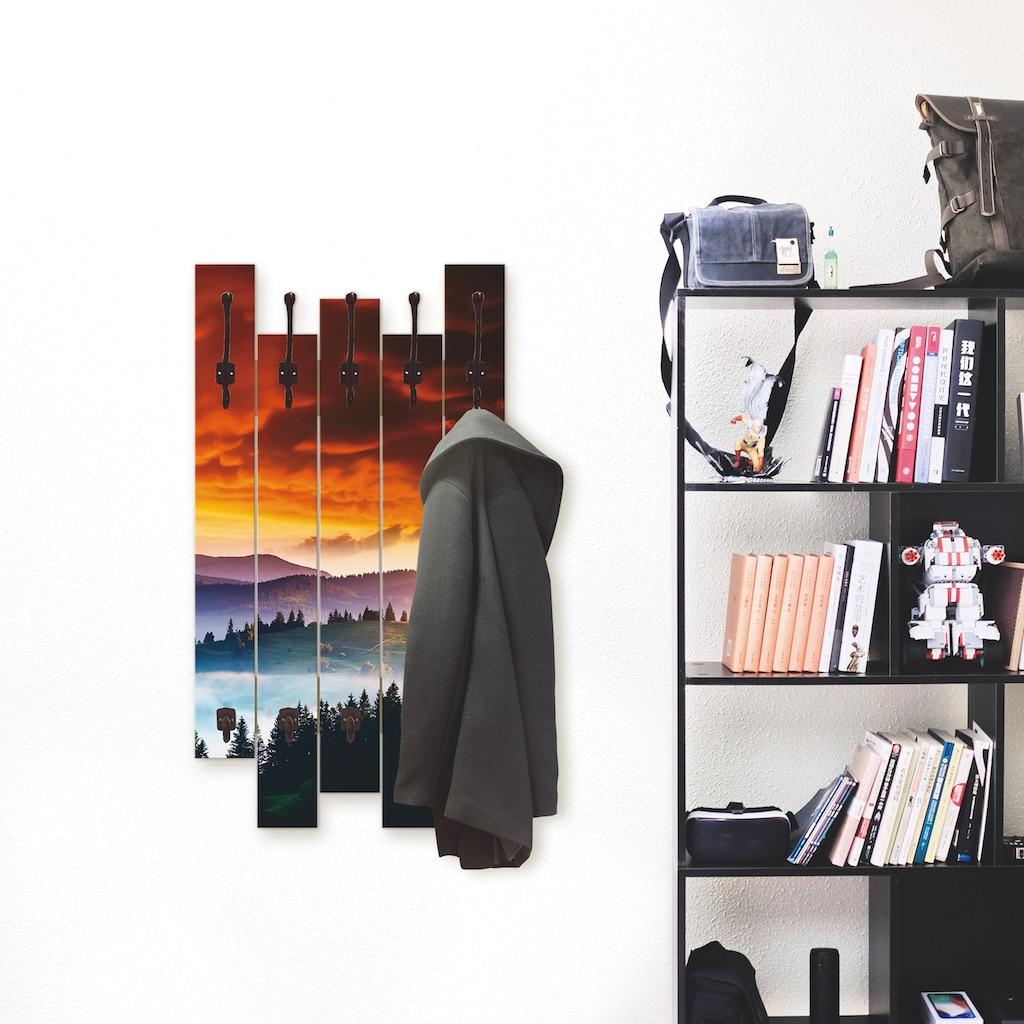 Artland Garderobenpaneel »Majestätischer Sonnenuntergang«, platzsparende Wandgarderobe aus Holz mit 8 Haken, geeignet für kleinen, schmalen Flur, Flurgarderobe