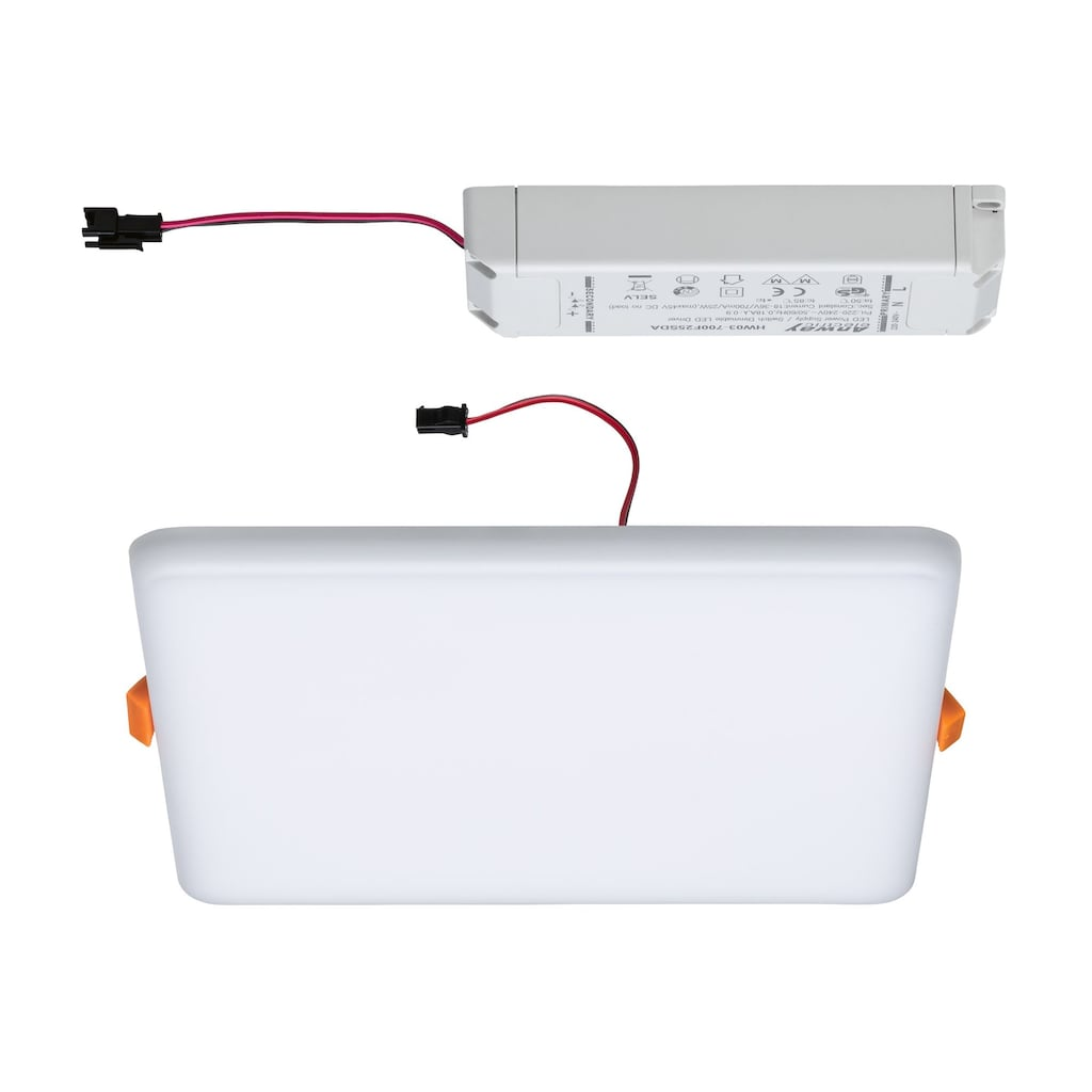 Paulmann LED Einbauleuchte »Panel Veluna VariFit IP44 3-Stufen-dimmbar eckig 185x185mm 17,5W 4.000K Satin«, 1 St., Neutralweiß