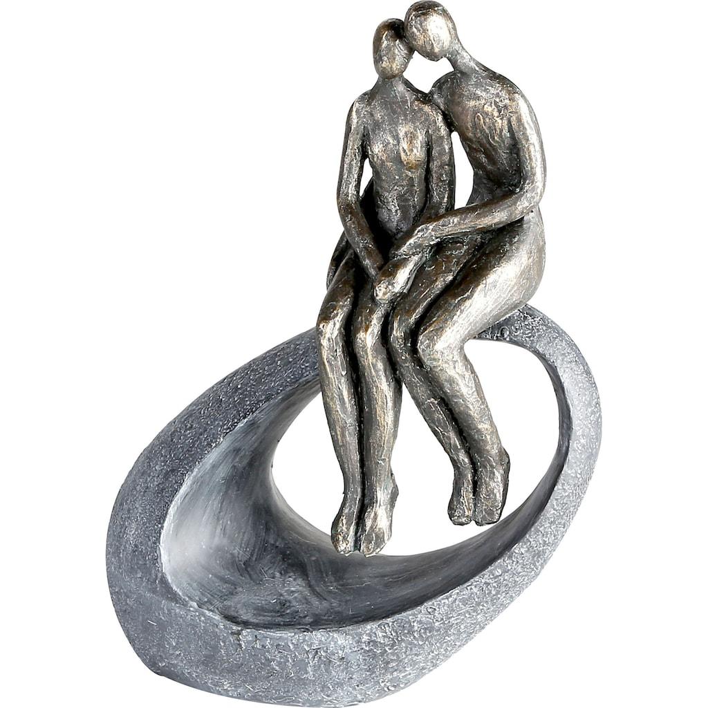 Casablanca by Gilde Dekofigur »Skulptur Moment, bronzefarben/grau«, Dekoobjekt, Höhe 27, Pärchen, mit Spruchanhänger, Wohnzimmer