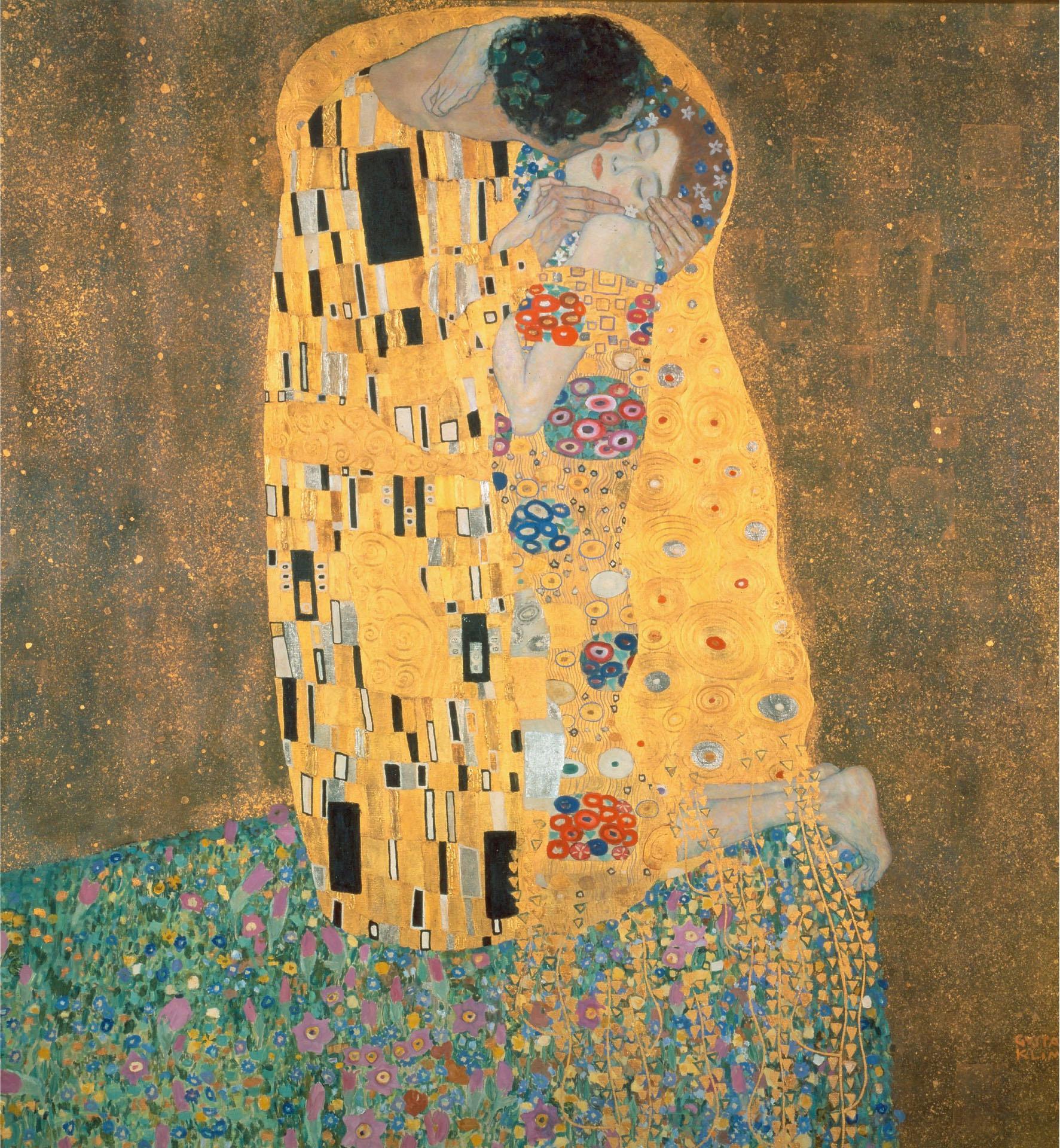 Fototapete Klimt - Der Kuss 240/260 cm Wohnen/Accessoires & Leuchten/Wohnaccessoires/Tapeten und Bordüren/Fototapeten/Fototapeten Natur