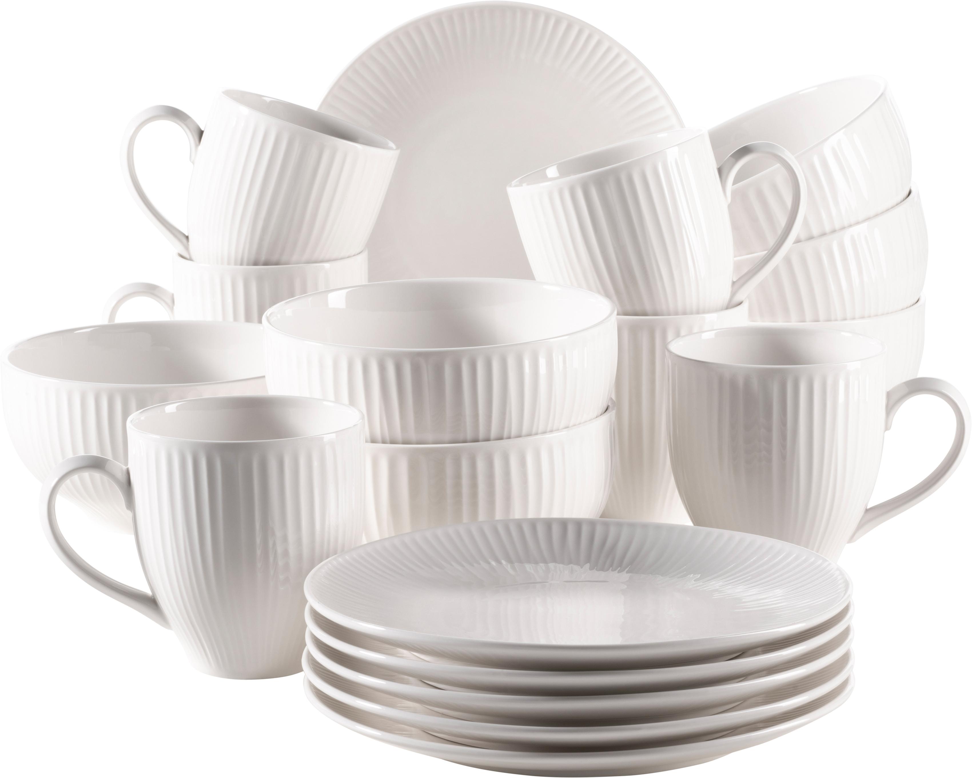 MÄSER Frühstücks-Geschirrset Dalia, (Set, 18 tlg.), Vintage Look weiß Geschirr-Sets Geschirr, Porzellan Tischaccessoires Haushaltswaren