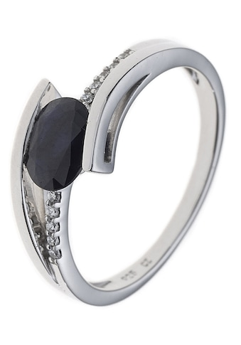 JOBO Diamantring, 585 Weißgold mit Safir und 10 Diamanten kaufen
