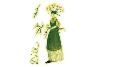 Wall-Art Wandtattoo »Kräuterfrau Küche Dill Grün« kaufen