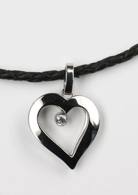 Firetti Kette mit Anhänger Herz geflochtenes Lederband | Schmuck > Halsketten > Herzketten | Firetti