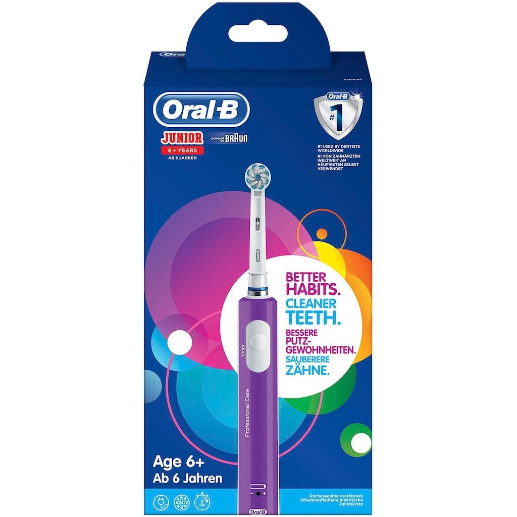 Oral B Elektrische Zahnbürste »Junior Purple«, 1 St. Aufsteckbürsten