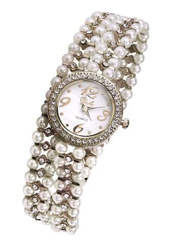 Armbanduhr mit Perlen und Glassteinen kaufen