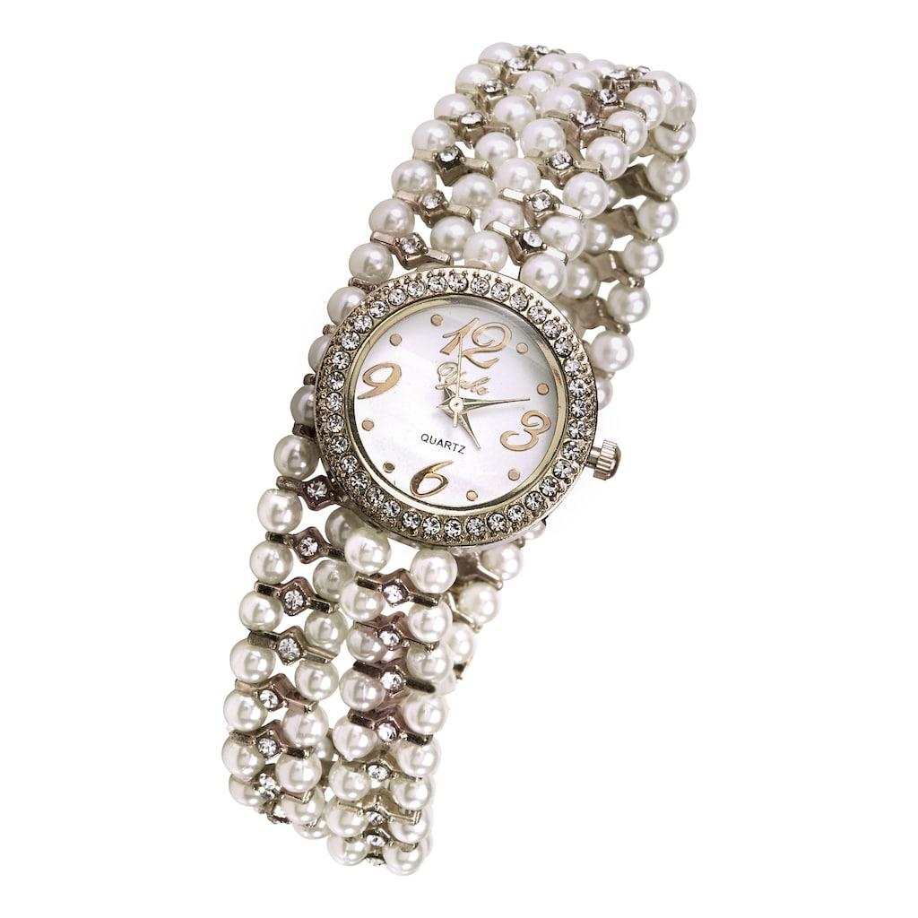 Armbanduhr mit Perlen und Glassteinen