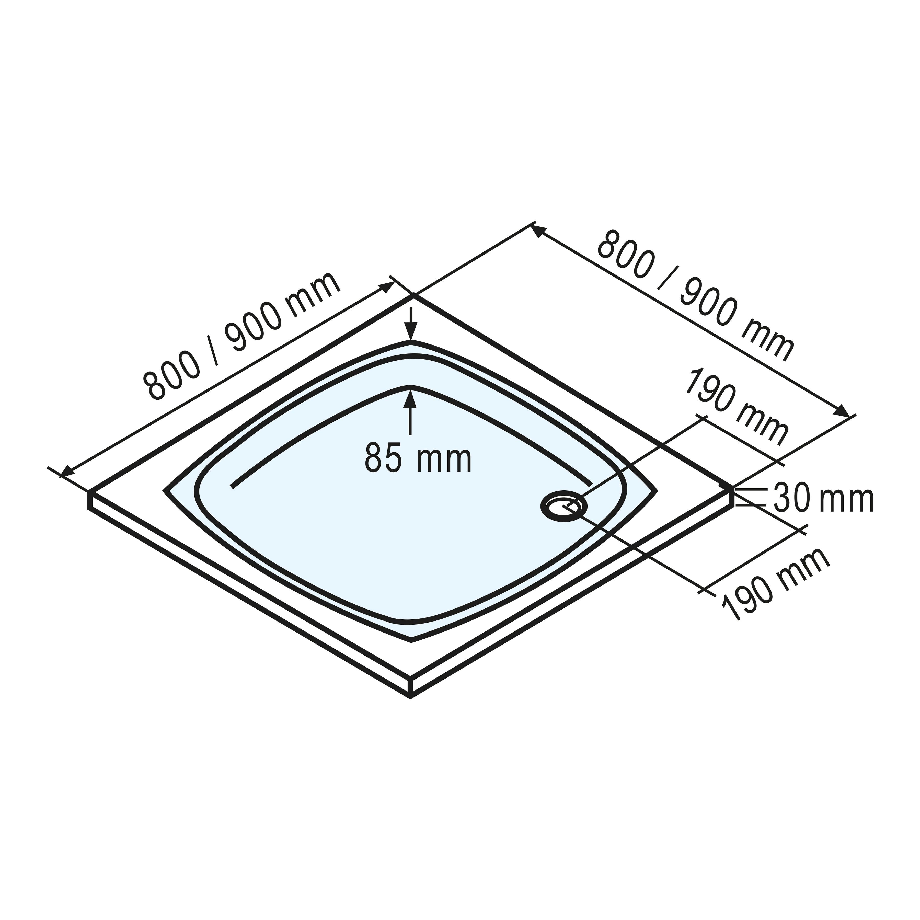 Schulte Duschwanne, flach, 80 x cm weiß Duschwannen Duschen Bad Sanitär