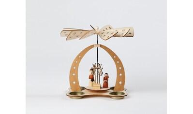 HGD Holz - Glas - Design Tischpyramide für vier Teelichte Christi Geburt kaufen