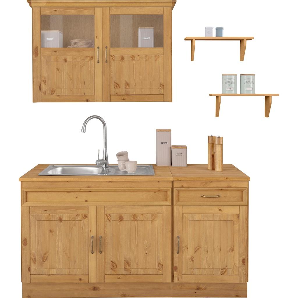 Home affaire Küchen-Set »Fanö«, (5 St.), ohne E-Geräte, Breite 150 cm, aus massiver Kiefer, 23 mm starke Arbeitsplatte, mit Metallgriffen