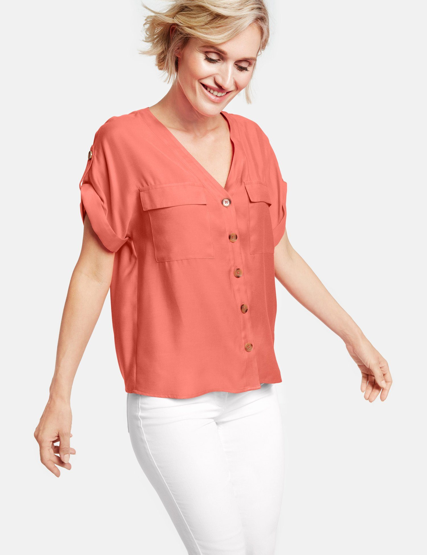 GERRY WEBER Bluse 1/2 Arm Bluse aus Viskose