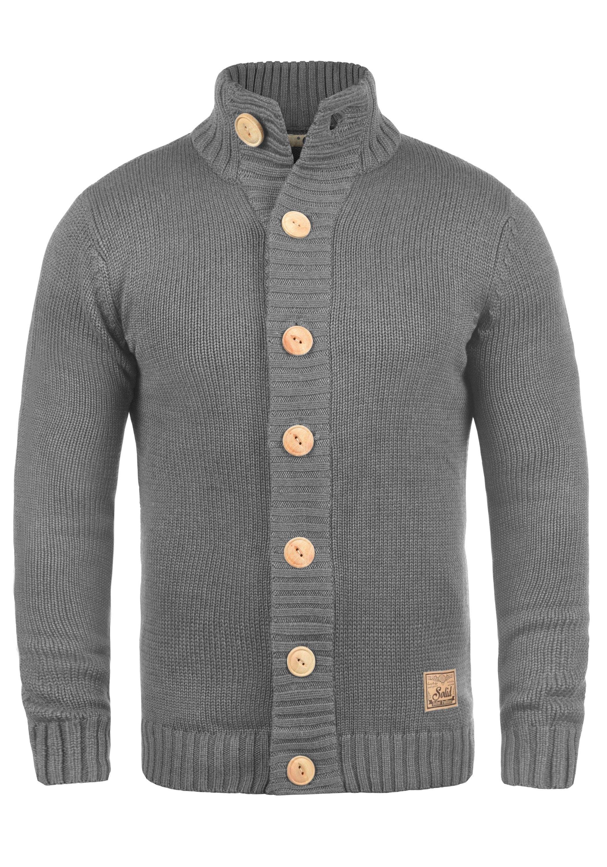 Solid Cardigan Pete | Bekleidung > Strickjacken & Cardigans > Cardigans | Grau | Leder | Solid