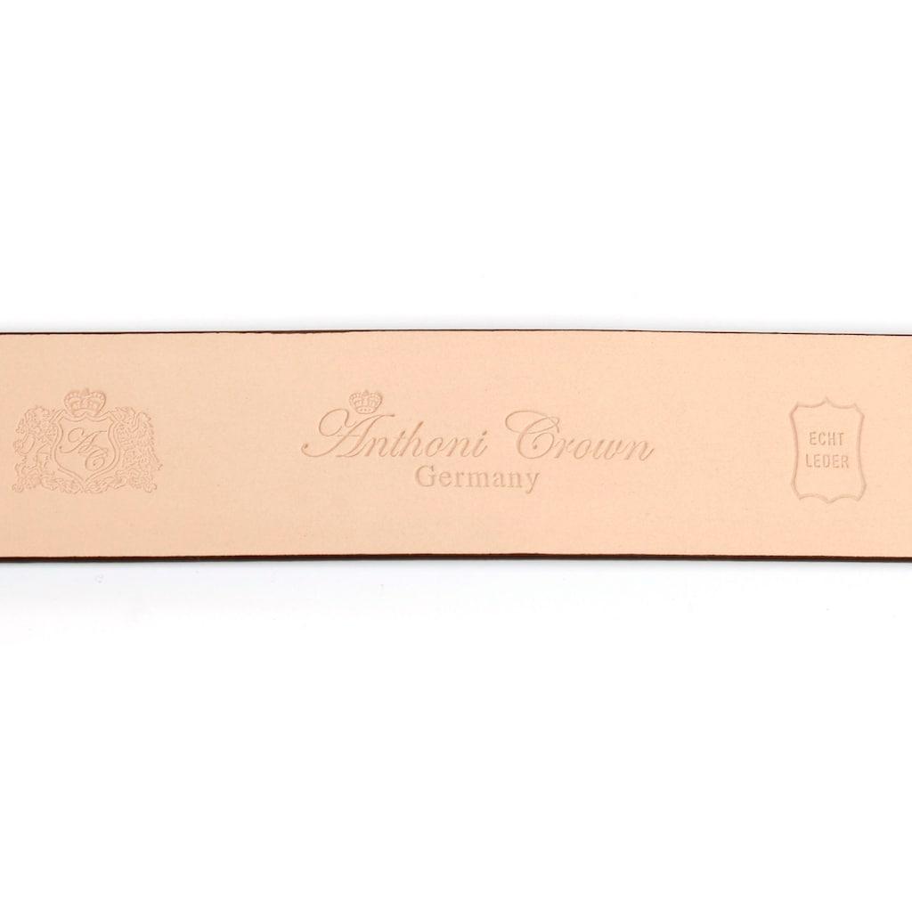 Anthoni Crown Ledergürtel, mit Designer Schließe in schmaler Form, Lack-Optik