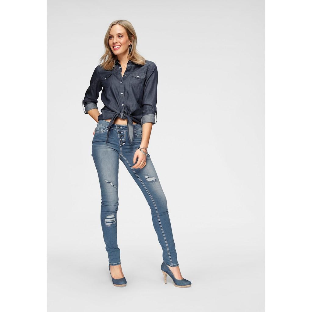 Arizona Slim-fit-Jeans »mit sichtbarer, schräger Knopfleiste«, Mid Waist