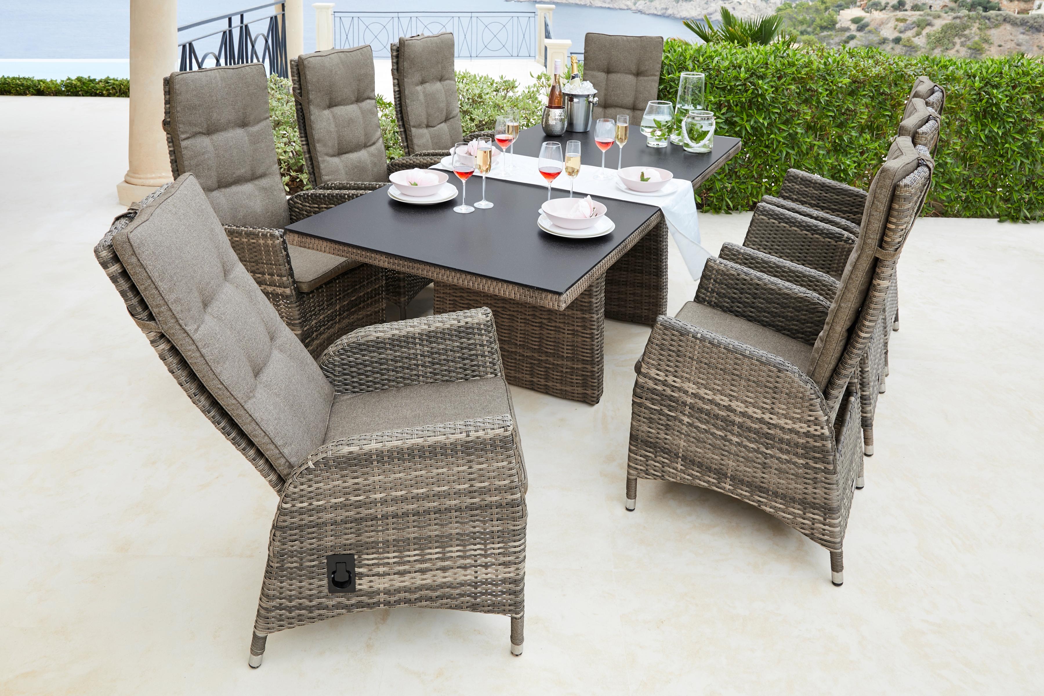 PLOSS Diningset Tokio 17-tlg 8 Sessel Tisch 100x220 cm Polyrattan braun