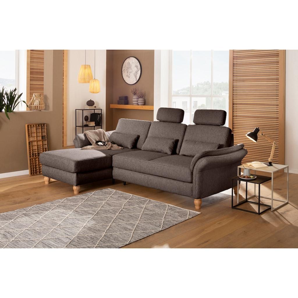 Home affaire Ecksofa »Palazzo«, incl. Sitztiefenverstellung, wahlweise mit Bettfunktion und Stauraum,Federkern