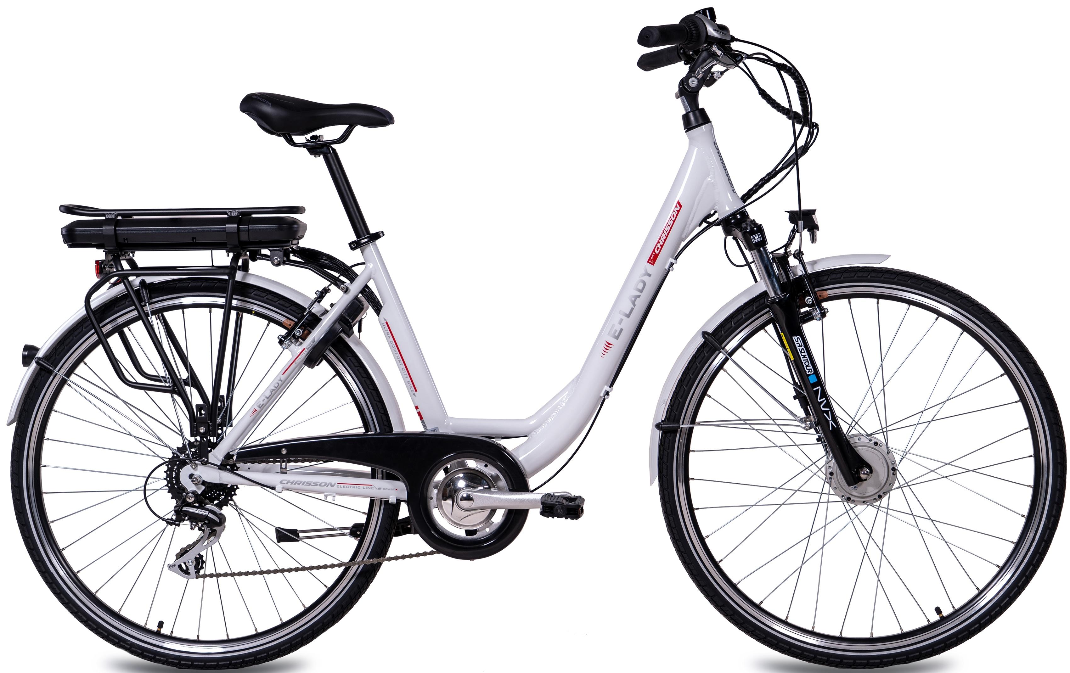 Chrisson E-Bike E-LADY, 8 Gang, Shimano, RD-M360-SGS, Frontmotor 250 W weiß E-Bikes Fahrräder Zubehör