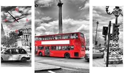 Conni Oberkircher´s Bild »London Bus«, London, (Set), mit dekorativer Uhr kaufen