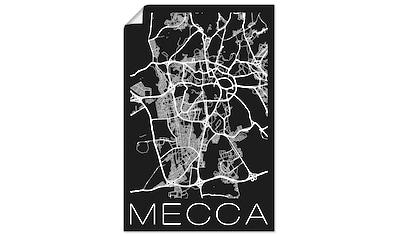 Artland Wandbild »Retro Karte Mekka Schwarz & Weiß«, Landkarten, (1 St.), in vielen... kaufen