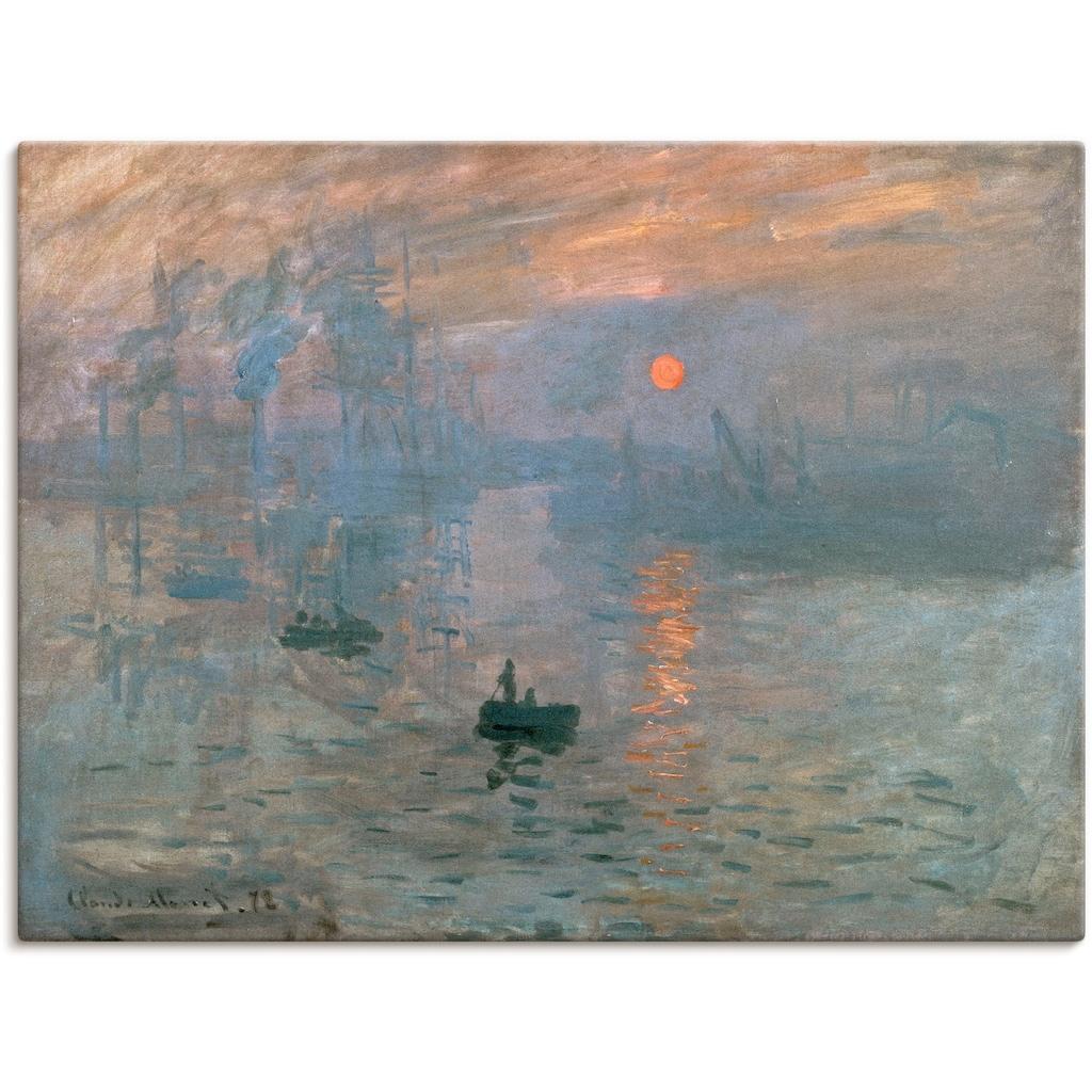 Artland Wandbild »Impression (Sonnenaufgang). 1872«, Gewässer, (1 St.), in vielen Größen & Produktarten -Leinwandbild, Poster, Wandaufkleber / Wandtattoo auch für Badezimmer geeignet