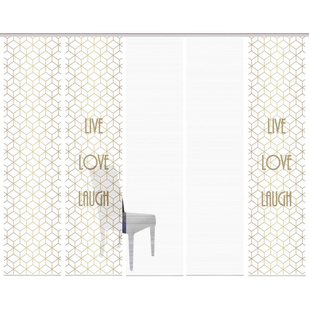 Vision Schiebegardine »LIVE LOVE LAUGH 5er SET«, Bambus-Optik, Digital bedruckt