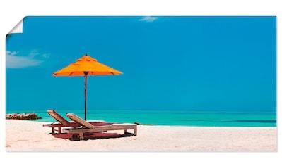 Artland Wandbild »Liegestuhl Sonnenschirm Strand Malediven«, Strand, (1 St.), in vielen Größen & Produktarten - Alubild / Outdoorbild für den Außenbereich, Leinwandbild, Poster, Wandaufkleber / Wandtattoo auch für Badezimmer geeignet kaufen